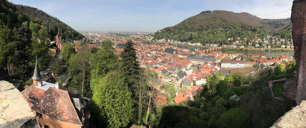 A panorama of Heidelberg from the promenade along the Castle.
