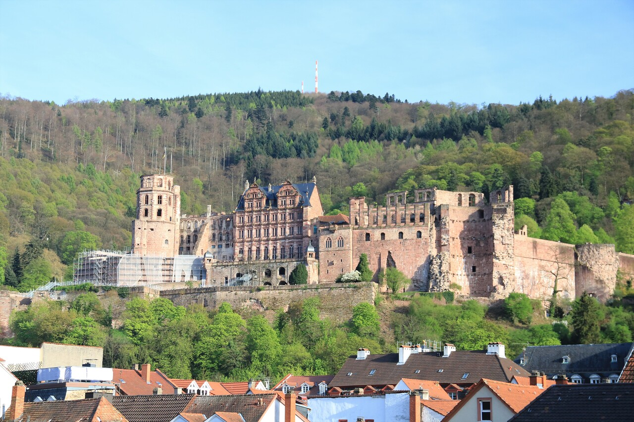 Heidelberg Castle from the Alte Brucke.  It is mostly just the shell of an old castle / palace as most of it was destroyed in the late 17th century in wars with the French.