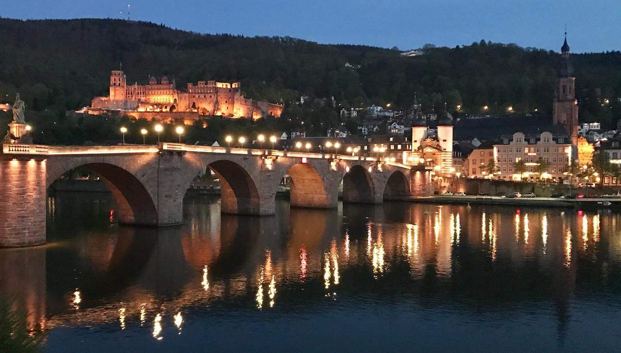 Heidelberg from across the Neckar River at night.