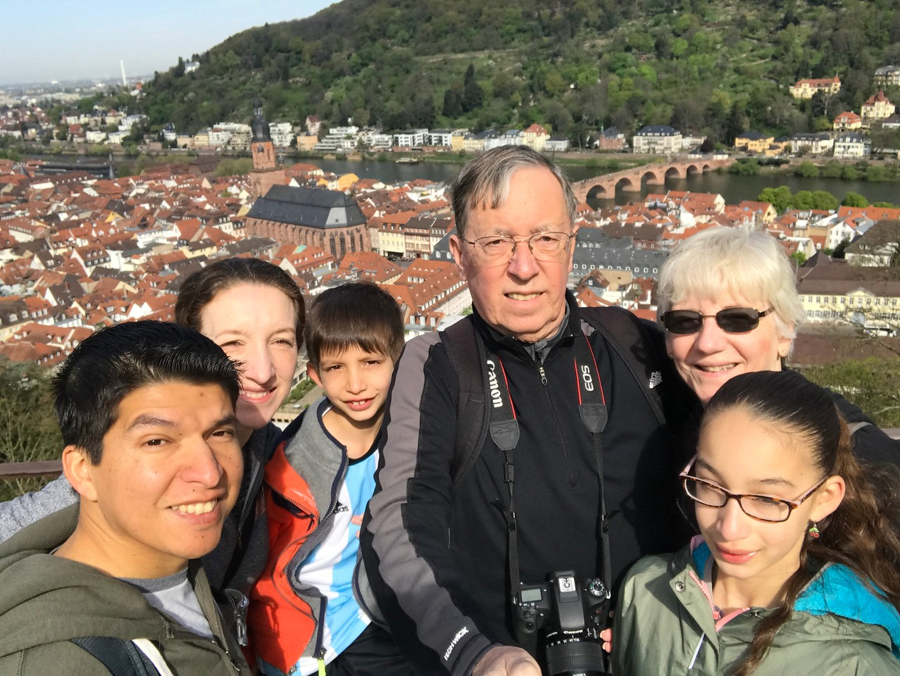 Us again overlooking  Heidelberg (with the sun in our eyes :-)