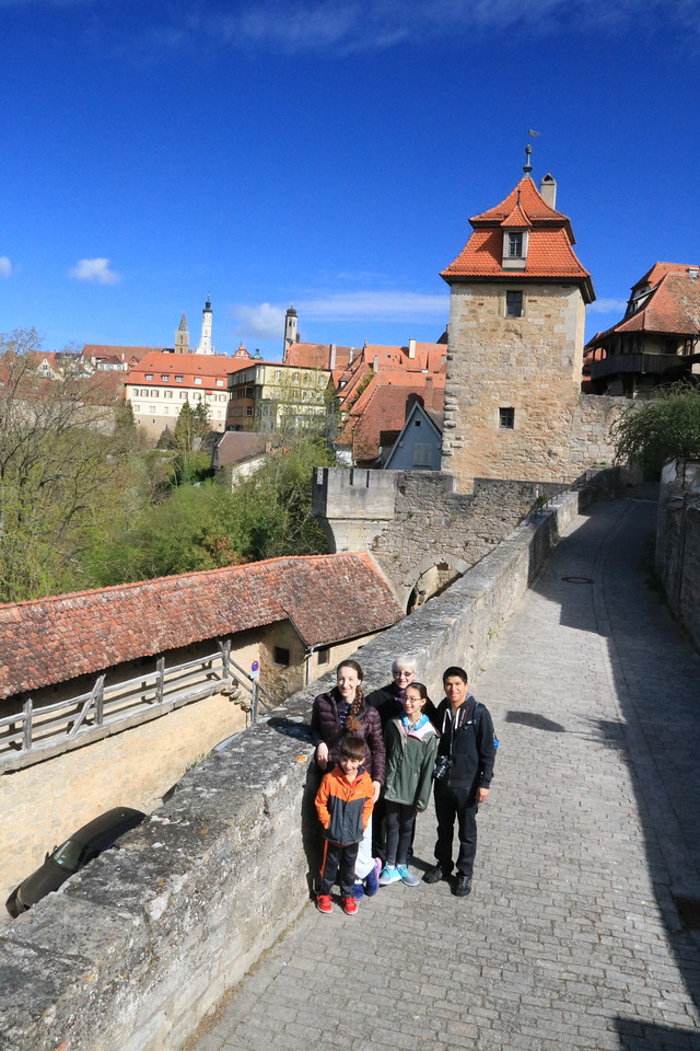 Walking along the old town's fortified walls.