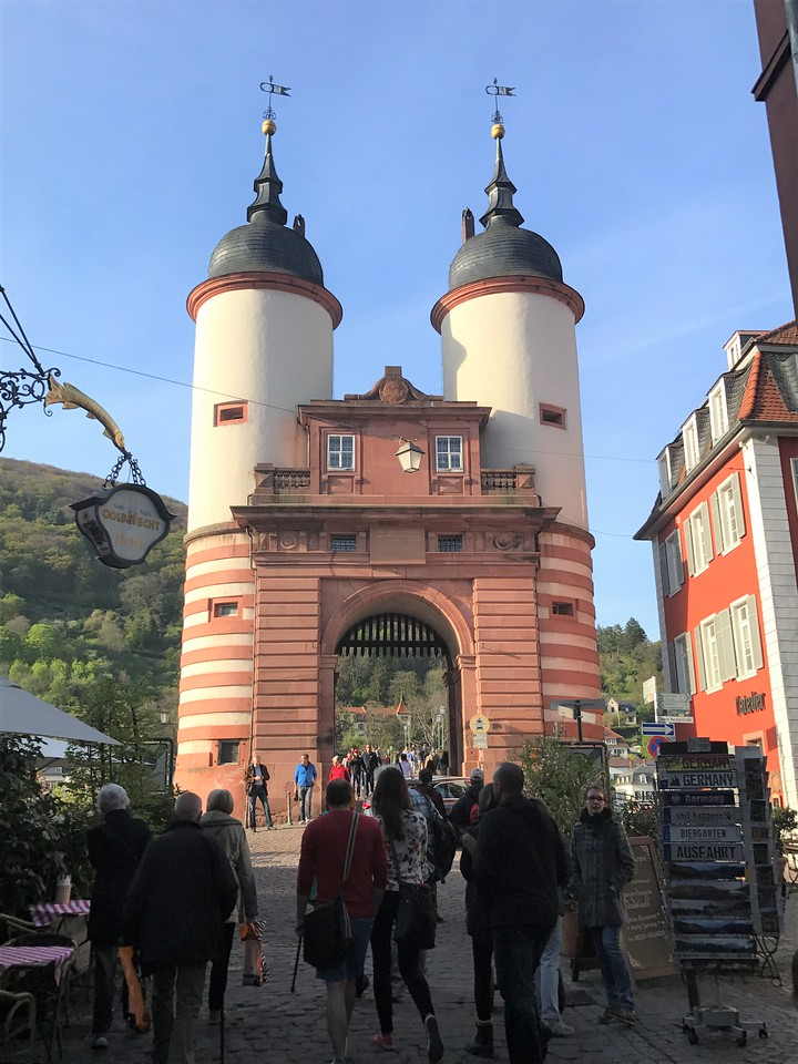 Off to Heidelberg, where we arrived in late afternoon, a great time to view the city from along the Neckar River which flows through it.  Here is the Old Town Gate at the foot of the Alte Brucke (Old Bridge).