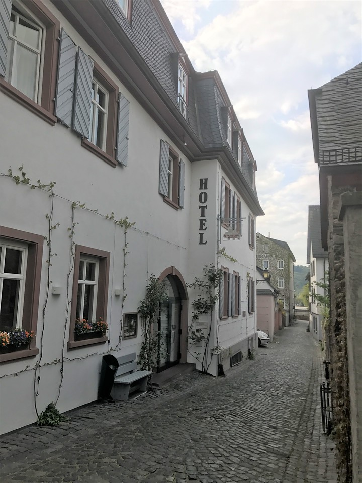 From Heidelberg, we drove to Rudescheim, a small town along the Rhine River.  Here is our hotel, accessed by incredibly narrow streets / alleys.  It took us several tries, but we finally got there.