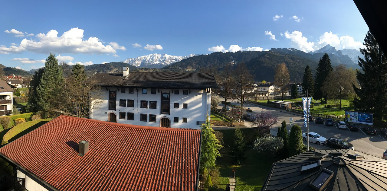 Then we proceeded to our overnight destination of Garmisch Partenkirchen in southern Bavaria.  It is the gateway to the German Alps.  It was our stop-over point on our way to Neuschwanstein Castle.  Here, a view of the mountains from the balcony of our hotel.