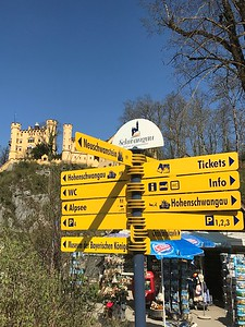 Arriving in Schwangau, the little town below two of Ludwig II's castles including Hohenschwangau, above, and the more famous, Neuschwanstein further up on an adjacent hill.