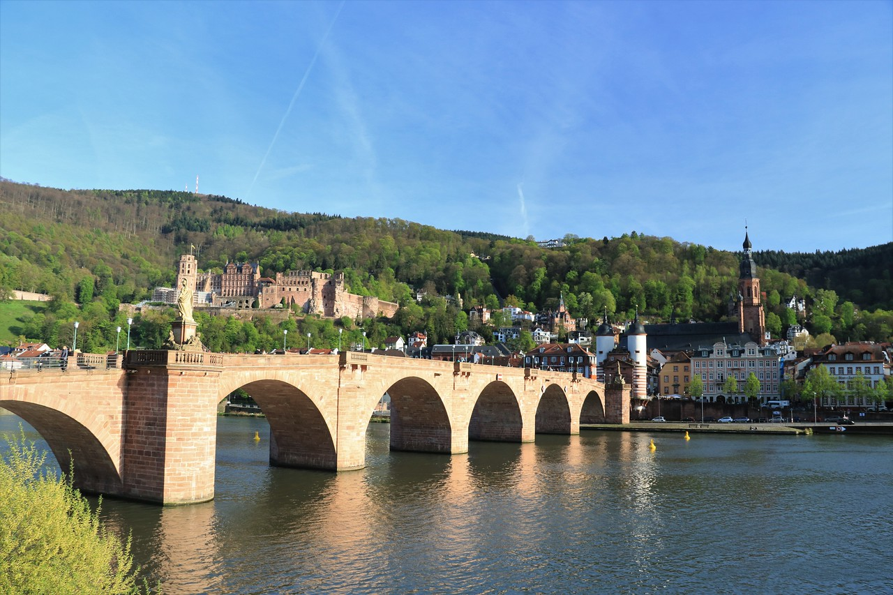 Old Town Heidelberg, the Alte Brucke and Castle as seen from across the River Neckar.