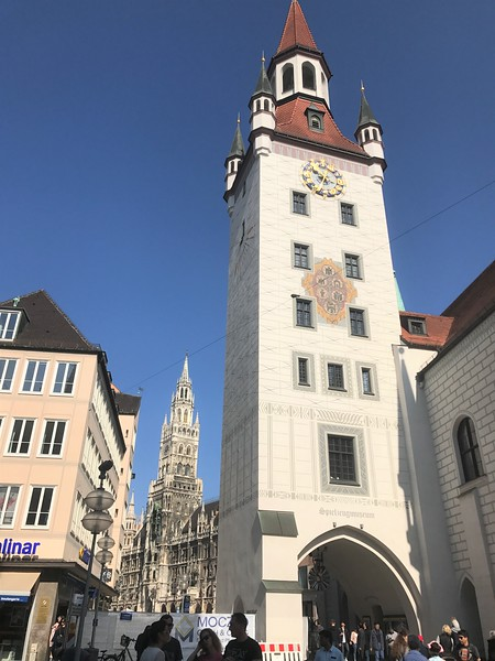 The tower of the Altes Rathaus with the tower of the newer Neues Rathaus in the distance in Marienplatz.