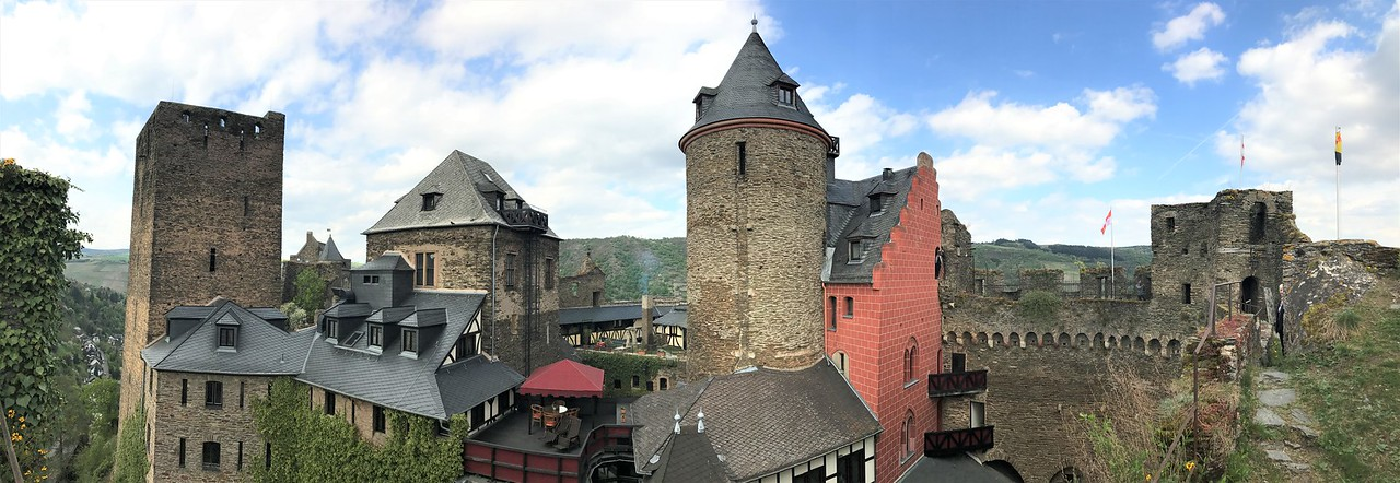 "A panorama from the castle wall.  Our room was in the red section, just right of center and our ""balcony"" was the wall section adjacent to the red section."