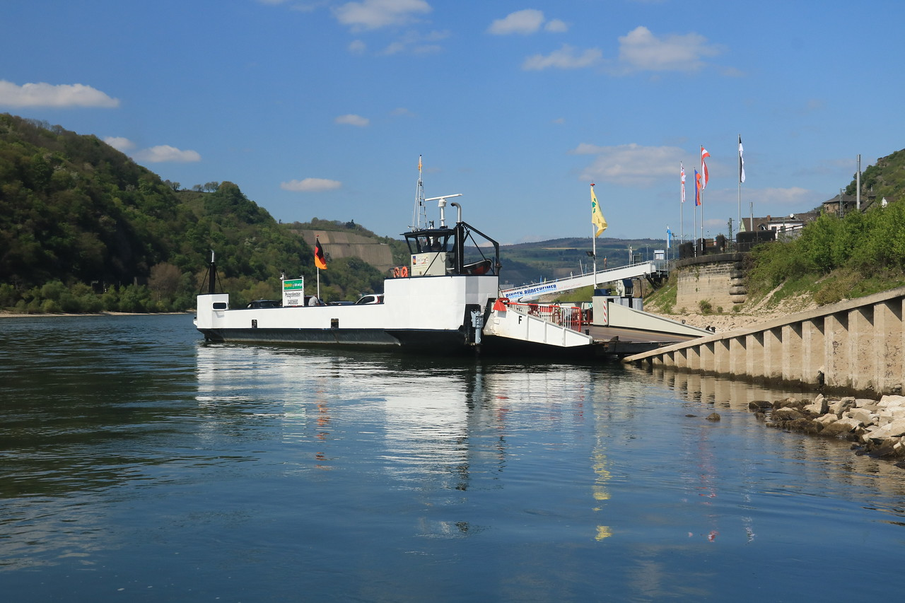 Our ferry right after we got off.  They are small and operate about every 10 miles along the Rhine in this region.  Note that there is no bridge in the historic section between Mainz and Koblenz, a distance of about 100 kilometers!
