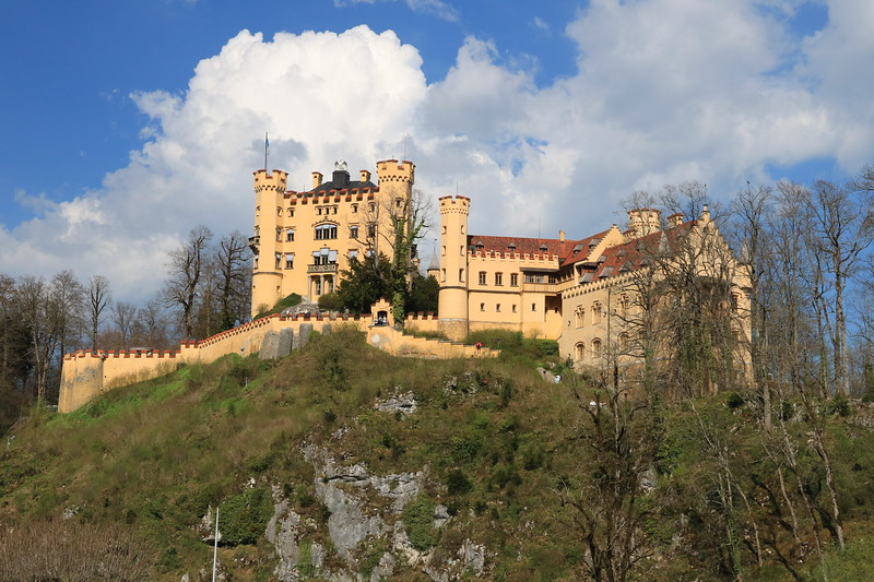 Hohenschwangau Palace was actually built in the 1830s by Maximillian II of Bavaria, Ludwig II's father.  Ludwig spent much of his childhood here.