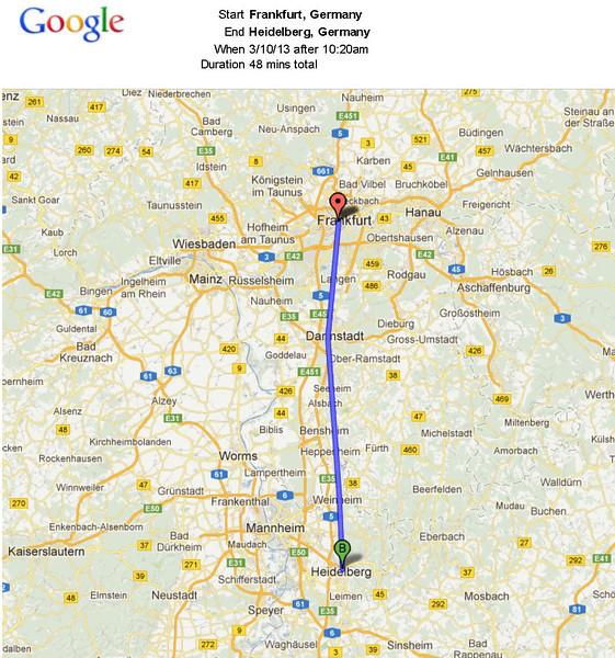 After landing in Frankfurt, we took the train (after a false start) to Heidelberg.