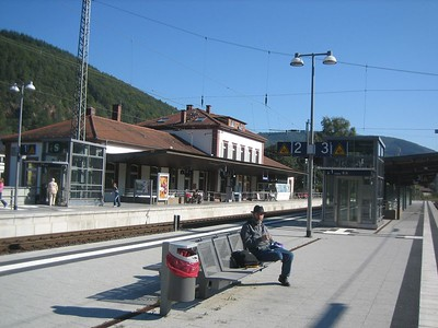 Neckargemund train station, where we waited for train to Neidenstein