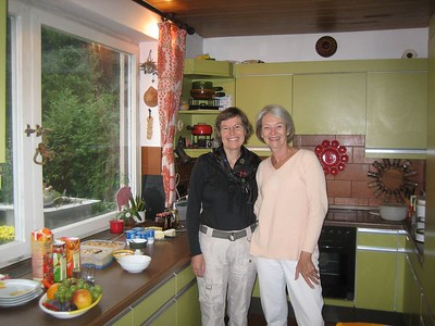 College classmates Sandy and Nancy pose in Nancy's kitchen.  Nancy provided 'bed and breakfast' service for our 3 days in Munich. (Sandy had bid for this service during last May's reunion.)  Delightful!