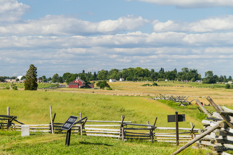 Another view of the main battle field with Gettysberg over the hill in the distance.