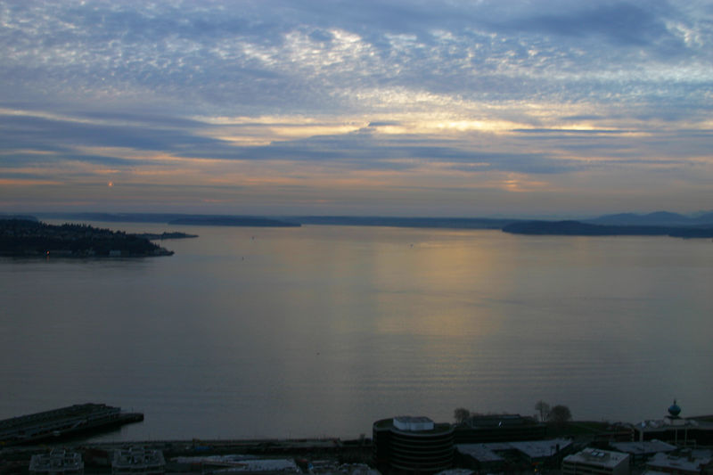 Puget Sound from the Space Needle at Sunset.