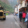 And this is the line to the bus that takes one up to Machu Picchu. That green bus way down there is the start of the line, and it took only 45 minutes to get there. The line and the bus system is efficient. There's just a lot of people.