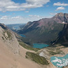 A bird's eye view of our first hike - Upper and Lower Grinnell Lake, Lake Josephine, and Swiftcurrent Lake