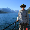 Riding the boat across Waterton Lake to start our next backpack trip