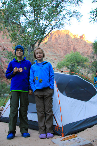 Our second campsite, in Phantom Ranch, right by the river.