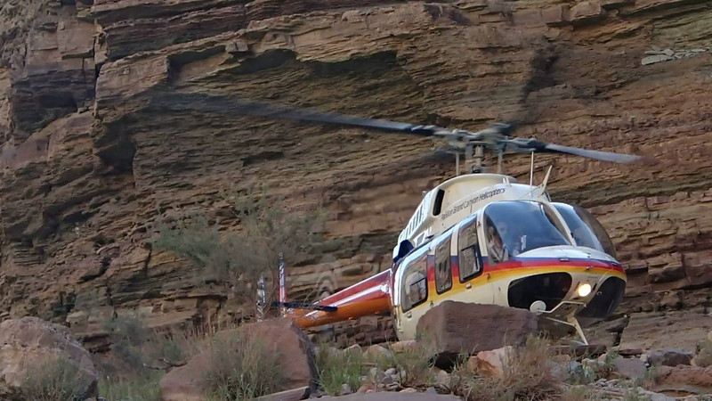 The helicopter ride out of the canyon - before I got my ride.