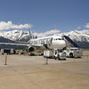 Walking past our plane at Jackson Hole Airport