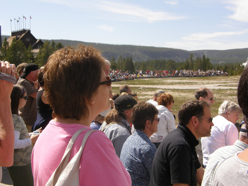 Large crowd gathers the see Old Faithful erupt I believe every 90 minutes.