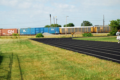 1033 Track and Field at Wisner Stadium with Pontiac MI train yard in back