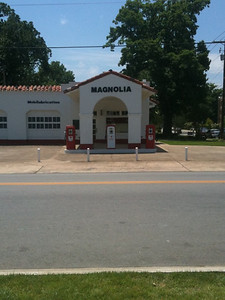 "008 Preserved Mobil station near incident w/ the ""Little Rock 9"""