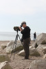 October 10, 2011 (Point Pelee National Park [Point Pelee Tip] / Essex County, Ontario) - Mary Anne scoping for a Great Black-backed Gull