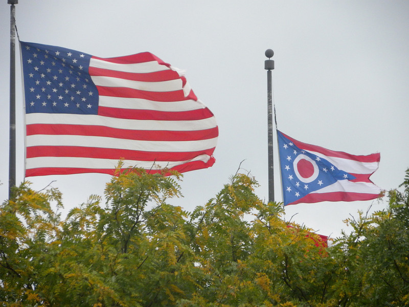 October 11-16, 2011 (Ohio) -- American & the Ohio state flags