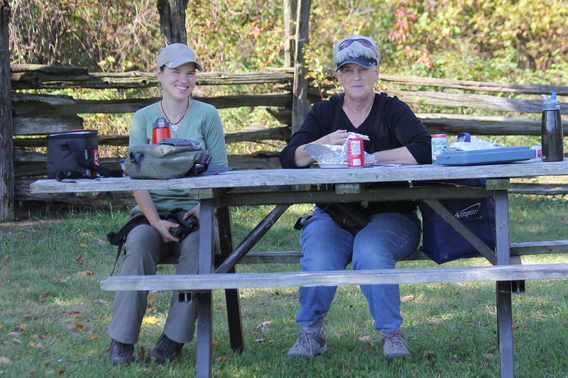 "October 9, 2011 (Point Pelee National Park [Point Pelee picnic grounds] / Essex County, Ontario) - The ""Birding Mary Anne's"" - our guide Marianne & Mary Anne"
