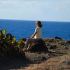 Nancy meditating...great spot...wind, sound of waves, great views, warm sun.