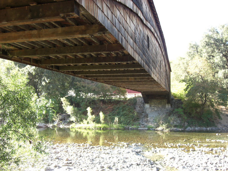 view from under the covered bridge