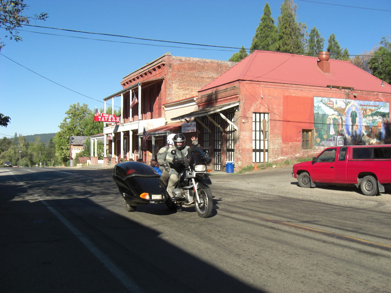 mikey (in the sidecar--look for the orange helmet) passing thru north san juan (california)