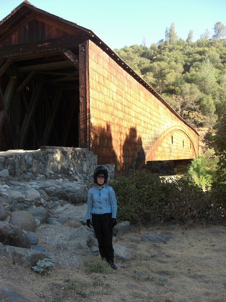emily @ the covered bridge on the yuba river