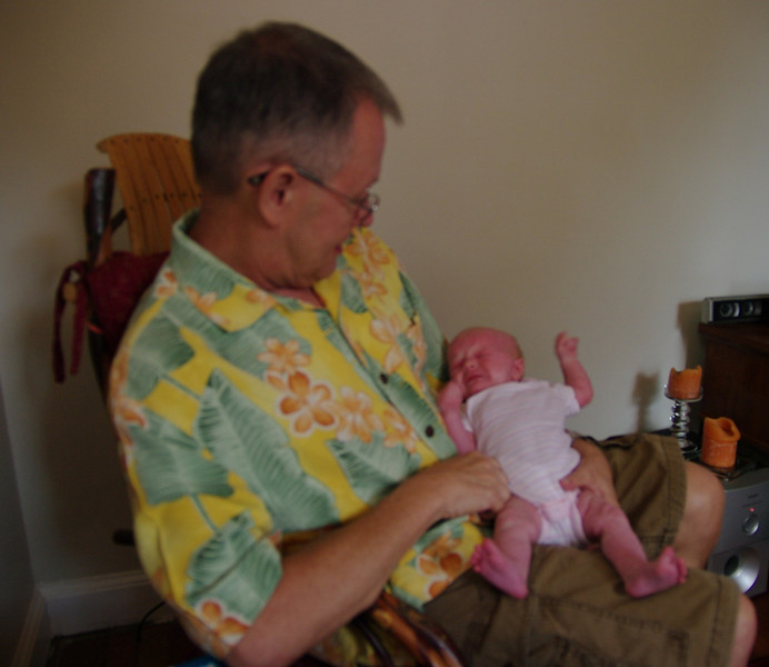 proud granddad with Brooke Lease (over a month old)