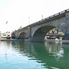 The London Bridge that spurred the growth of Lake Havasu City. A concrete bridge was covered with blocks from the actual London Bridge. The whole thing was built on land, then a channel was dredged to make what was a peninsula into an island.