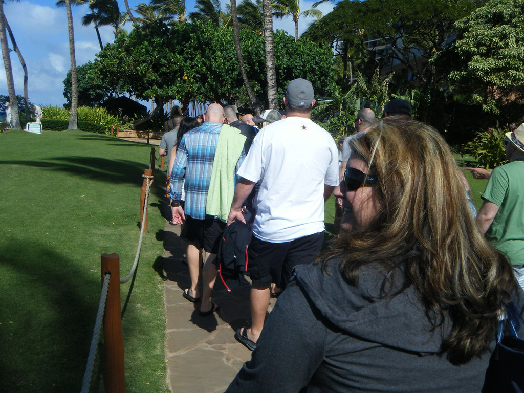 A little out of order I think. Too lazy to rearrange the pictures. The whale-watching/snorkeling trip was a day BEFORE the Luau. Anyhow, this is the group walk from the hotel to the boat launch. Our group had 3 boats.