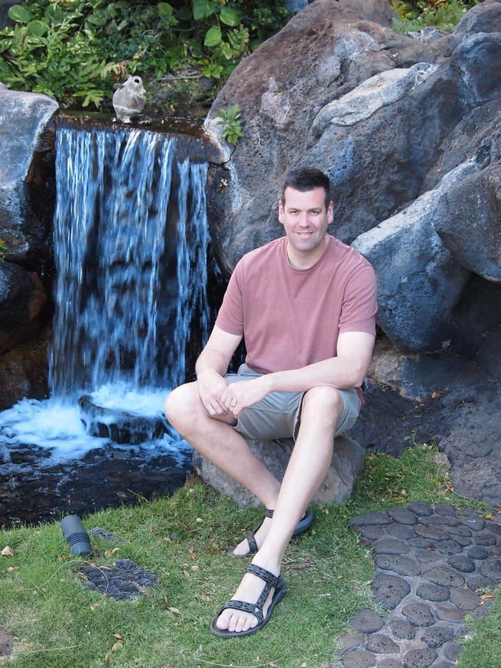 a little waterfall in the 'swan garden'