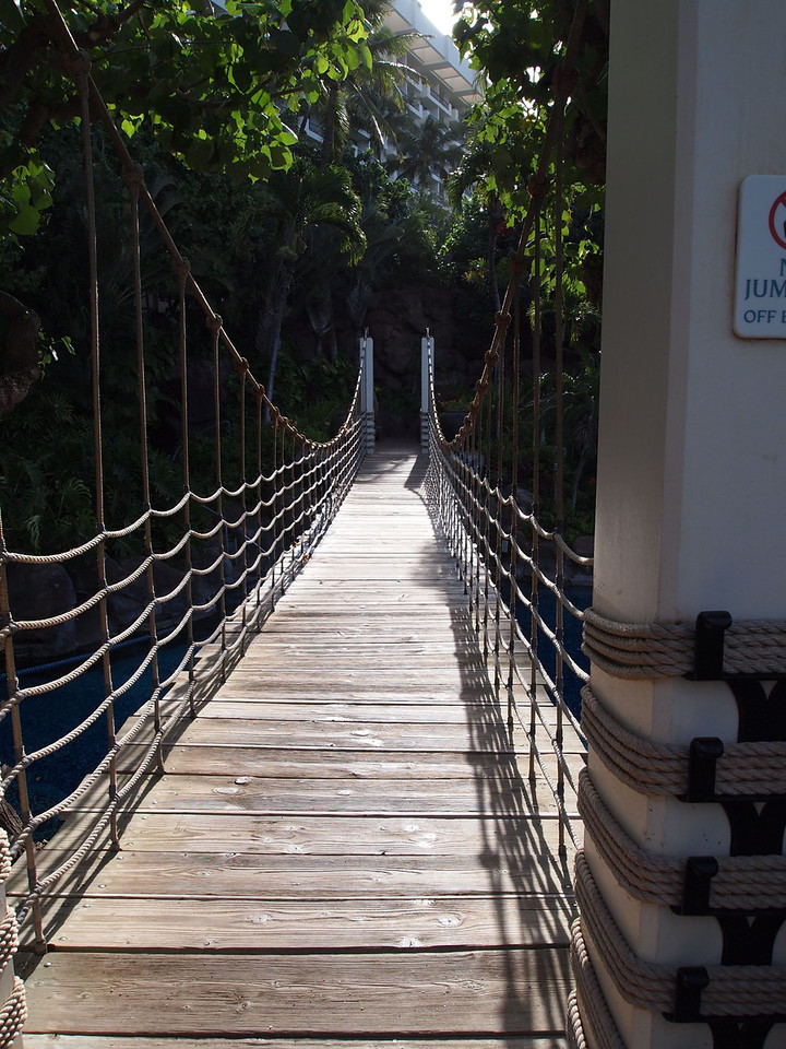 A morning walk around the hotel's grounds: A rope bridge over the pool