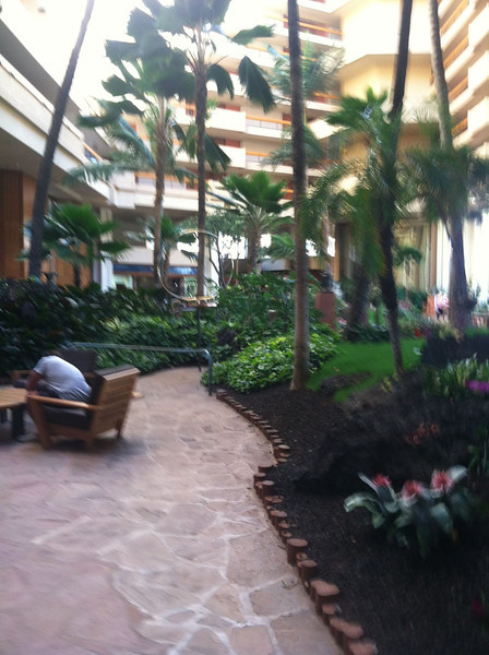 a blurry pic of the hotel lobby