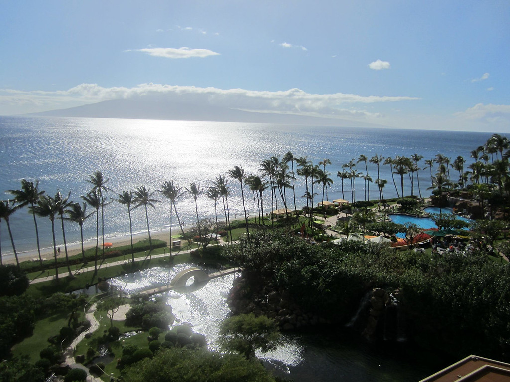 View straight out of our room. That's Lanai island off in the distance to the west.