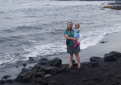 October 17, 2013 - (Punalu'u County [Black Sand] County Park Beach / Nīnole, Kaʻū District, Hawaii County, Hawaii) -- Katie & Ada