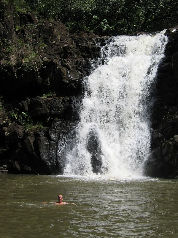 Corey in the water at Waimea Falls