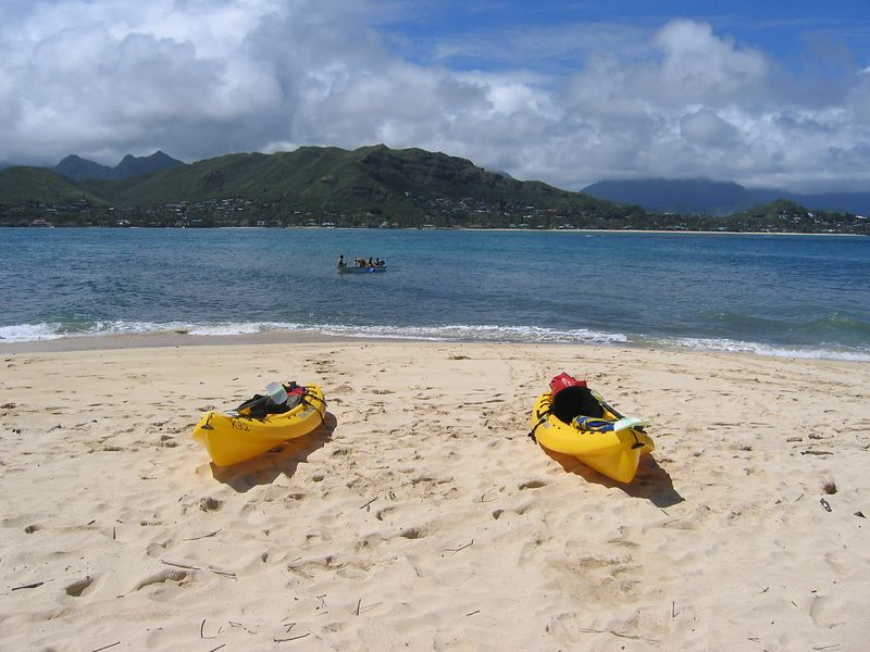 Kayaks on Mokulua