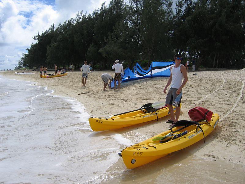 Corey and the kayaks on Kailua Beach