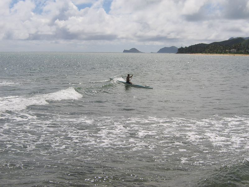 Outrigger in surf