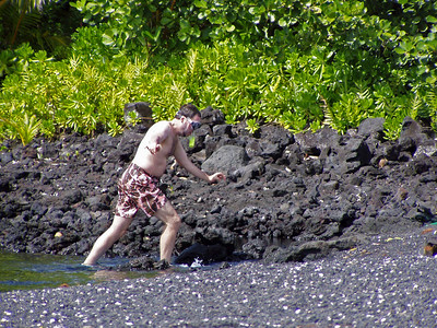 Day Five - Champagne Pond, a volcanically heated inlet good for swimming and snorkling. It's hard to walk in flippers!
