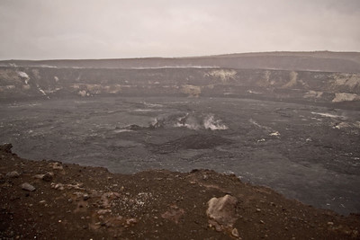 Day Four - Volcanoes National Park.  Kilauea Caldera - used to be a boiling caldron of lava.  Now emits vog (volcano smog/fog.)