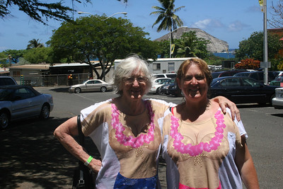 8-19-06 Honolulu - Mom & MB in their wet coconut T's